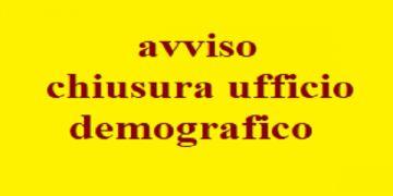 UFFICIO DEMOGRAFICO - CHIUSO SABATO 7 DICEMBRE 2019
